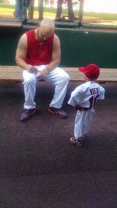 Josiah Viera, 10, visits the Cards after being an honorary member of the short-season State College team all season. 9-18-14