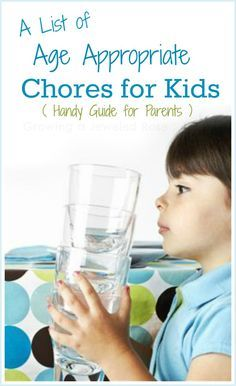 A handy list for parents highlighting age appropriate chores for kids