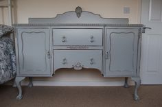 Vintage Buffet Dresser... hand painted and distressed in Lamp Room Grey...