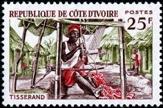 Ivory Coast - Weaver   Designed and engraved by René Cottet (1902-1992), and issued by Ivory Coast on March 27, 1965.