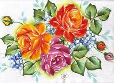 Pintura em Tecido Passo a Passo Com Fotos: Pintura em Tecido Arranjo de rosas