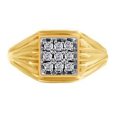 $1199 0.15 Ct Natural Diamond 14K Yellow Gold Mens Estate Ring by JewelryHub on Opensky