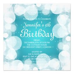 Baby / Kids Birthday Glow & Sparkle Turquoise Invitation