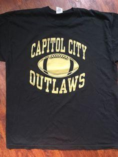 Capitol City Outlaws Football Black Gold T-Shirt Sz XL Springfield IL Semi-Prof #Jerzees #GraphicTee