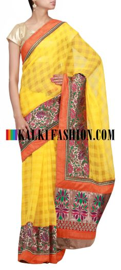 Buy Online from the link below. We ship worldwide (Free Shipping over US$100) http://www.kalkifashion.com/yellow-saree-with-brocade-pallav.html Yellow saree with brocade pallav
