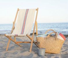 recovered sling chair in a vintage french grain sacks - Beach Lounge Chairs