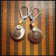 Antique button and crystal earrings. $24 D. Wallace Designs