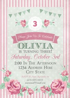 Top Ideas For Birthday Party Themes Shabby Chic 1st Birthday Party Themes, Tea Party Theme, Tea Party Birthday, Girl First Birthday, Birthday Ideas, Birthday Design, Birthday Invitation Templates, Birthday Party Invitations, Invitation Ideas