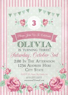 Shabby Chic Birthday Invitation | Tea Party Ideas | Girl's Birthday Ideas