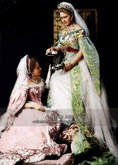Grand Duchess Elisaveta Fyodorovna Romanova of Russia (nee Princess Elisabeth of Hesse) with one of her ladies-in-waiting