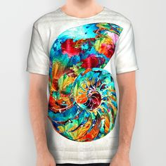 Colorful Nautilus Shell by Sharon Cummings All Over Print Shirt
