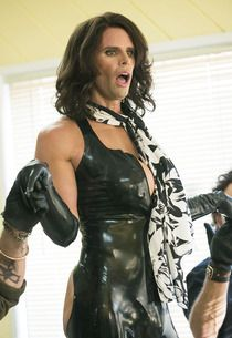 """Sons of Anarchy: Walton Goggins on His Jaw-Dropping Cameo - Walton's character, the trans-sexy """"Venus Van Damme,"""" wears a Customized Syren Latex Tank Suit with no ass and a zipper in the front, too show off her ample décolletage.  She also wears molded latex opera length gloves, available on www.syren.com"""