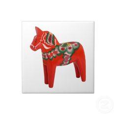 Het Zweedse VolksArt. van het Paard Dala Tegeltjes