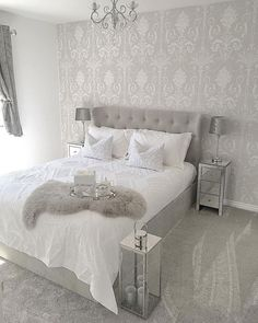 24 Stunning Grey and Silver Bedroom Ideas - Grey Bedroom Design, Home, White And Silver Bedroom, Grey Wallpaper Bedroom, Luxurious Bedrooms, Bedroom Inspirations, Silver Bedroom, Apartment Decor, Room Decor Bedroom