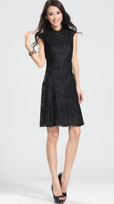 Black Cap Sleeve Embroidery Dress