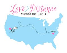 Long Distance Relationship Custom Map 8x10 by WanderingFables, $24.99