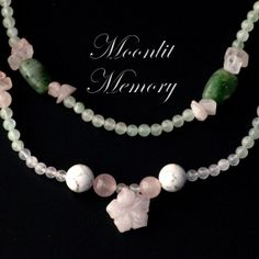 Pink and green flower stone jewelry set. Double-strand necklace and dangle earrings. From rose quartz, adventurine, and howlite. These delicate tones reminded me of spring flowers after a soft rain. Handmade by MoonlitMemory
