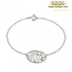 Name Necklace|Free Shipping Worldwide        Personalize Your Silver Bracelet. Secure Shopping. Free Worldwide Shipping. Order Now! Monogram Bracelet, Bridesmaid Gifts, Bridesmaids, Circle Monogram, Monogram Styles, Name Necklace, Initials, Sterling Silver
