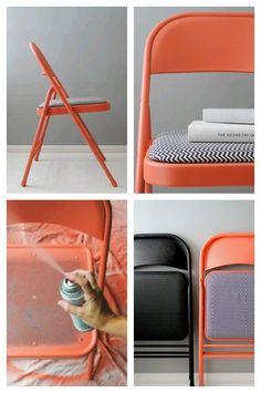 cadeira laranja pintada Mais