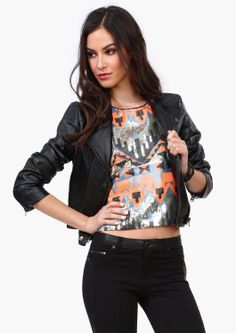 Sequin Tank // Leather Jacket