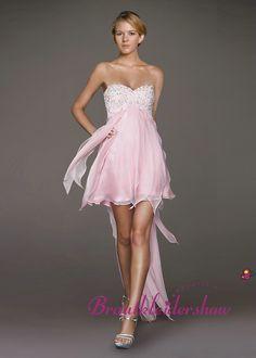 Vorne Kurz Hinter Lang Fließend Herzausschnitt Paillette Pink GWED045 €155.18