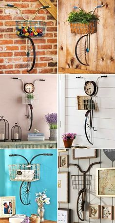 Funky Furniture, Home Decor Furniture, Diy Arts And Crafts, Home Crafts, Bicycle Decor, House Plants Decor, Room Decor, Wall Decor, Girl Bedroom Designs