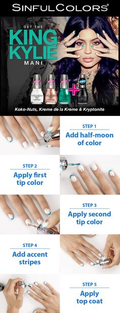 NOW available in Walmart stores: Sinful Colors Kylie Jenner Collection! You'll love these polishes—her latest must-have cosmetic creation. Recreate her signature look with a simple DIY: the King Kylie Mani. Buy the Koko-Nuts, Kreme de la Kreme and Kryptonite polishes. In just a few easy steps and only $2.98 each (.5 fl oz), capture Kylie's style and turn heads with your new, gel nails. Add your own personal touch: pick up some extra shades to match any other style you feel like rocking!