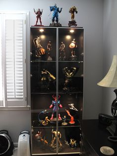 Ikea Billy Bookcase Display Help - Sideshow Freaks Small House Interior Design, Home Office Design, Display Shelves, Display Cabinets, Display Cases, Action Figure Display Case, Marvel Room, Nerd Room, Man Cave Room