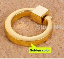 Gouden kleur een gat ring knop handvat keuken meubels kast handvat lade trekt(China (Mainland))