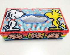 Peanuts tissue box cover perler beads by _73_.nami More