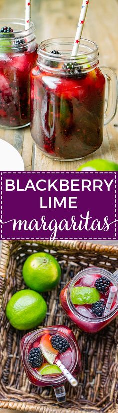Blackberry lime margaritas are a great summer cocktail, and the perfect drink for your BBQ, cookout, or summer celebration. via @nourishandfete