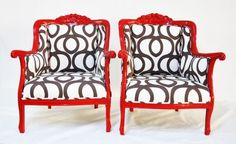 Red Armchairs with Cotton Geometric by Name Design Studio  These make a lovely marriage of color and pattern. These striking chairs are sure to be conversation starters