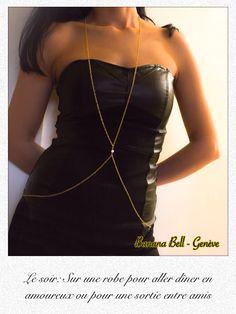 Chaîne pour le corps doré avec perle #bijou #collierharnais #chainecorps #bijouxcorps