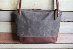 Waxed Canvas tote Small zipper purse crossbody zipper bag