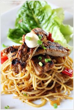 grilled teriyaki chicken spaghetti