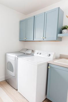 DIY Laundry Room Makeover - Blue Laundry Room Cabinets - Light Blue Laundry Room Cabinets - DIY Laundry Room - Small Laundry Room Makeover - Laundry Room Makeover on a Budget Diy Decor Projects, Blue Cabinets, Coastal Decor, Laundry, Blue Laundry Rooms, Mud Room Storage, Diy Cabinets, Room, Laundry Room Makeover