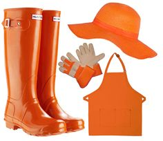 Tangerine Dream. Left to right: #HunterBoots, #sunhat, goatskin kid's #gardening gloves, 2-pocket bib apron