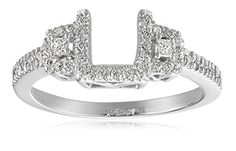 14k White Gold Round and Princesscess Diamond Solitaire Engagement Ring Enhancer (1/4 carat, H-I Color, I1-I2 Clarity)