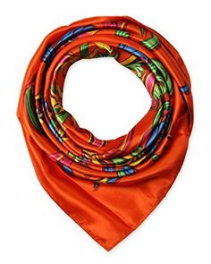 "corciova Elegant Women's Neckerchief Silk Feeling Satin Square Scarf Wrap 35"" Orange $9.99 Free Shipping"