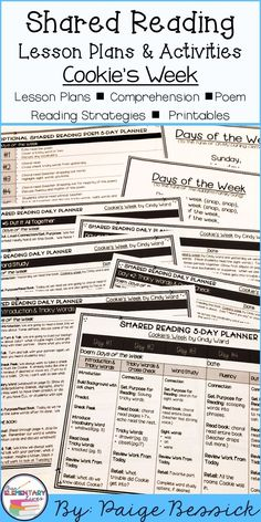 this shared reading chart is great for teachers and students