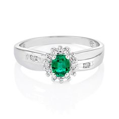 Female : 9ct White Gold Oval Created Emerald and diamond Ring