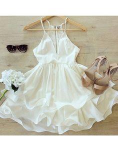 White Chiffon Two-layer Skate Dress