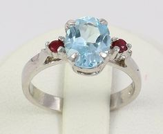 Gorgeous Charming Blue Topaz&Ruby Gemstone 925 Silver Ring Jewelry Gift Size 6 #Handmade #Ring