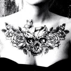 Stomach Tattoos Women, Lower Stomach Tattoos, Chest Tattoos For Women, Back Tattoo Women, Upper Back Tattoos, Back Piece Tattoo, Chest Piece Tattoos, Pieces Tattoo, Skull Tattoos