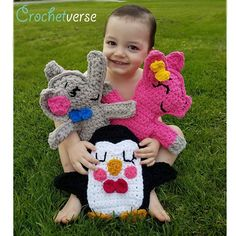 FREE Ragdoll Crochet Patterns - Elephant Pig and Penguin all at crochetverse.com Ravelry Designers Stephanie Pokorny