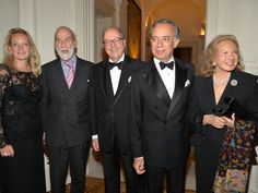 Mrs Karen Lawrence Terracciano wearing dress Michele Miglionico Haute Couture, with the Prince Michael of Kent, Mr Mariano Rubinacci, S.E. Ambassador Pasquale Terracciano, lady Spencer at Italian Embassy residence in London.