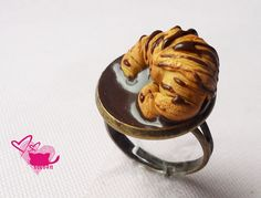 Fimo Crossiant with chocolate - on ring :)