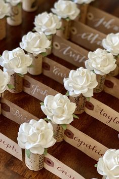 Greet your vineyard wedding guests with an eye-catching place card display!  Each vintage cork features a handmade paper rose, available in 28 premium colors.  Free shipping within US for orders $25+ #winetheme #vineyardwedding #weddingideas Wedding Places, Wedding Place Cards, Seating Chart Wedding, Personalized Wedding Gifts, Vineyard Wedding, Paper Roses, Party Stuff, Weddingideas, Cork