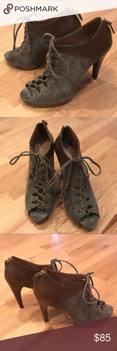 """Nordstrom Aerin Peep Toe Heels Gray leather lace up heels with leather tassel ties. Heel and back of shoe are brown leather. Zip up back with gold-tone hardware. Heel is approximately 4.5"""" with about a size 3/4"""" platform in the footbed. Measurements are approximate to the best of my ability. Worn a handful of times and received many compliments. Footbed is a soft comfortable suede leather. True to size. Size 9. From Nordstrom. 🚫Trades 🚫PP. Aerin Shoes Heels"""