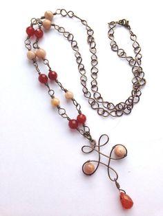Sunstone and carnelian antique bronze wire by HandmadeByKikiJ